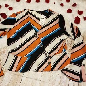 Miss Selfridge NWT striped bell sleeve blouse